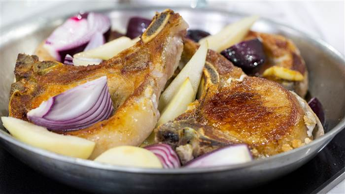 Feed a crowd with Lidia Bastianich's tasty pork chops with red onion and pear