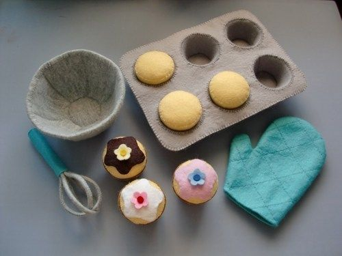 Felt Patterns and Tutorials - Bake Cupcakes Pretend Play Set (PDF Patterns via Email)
