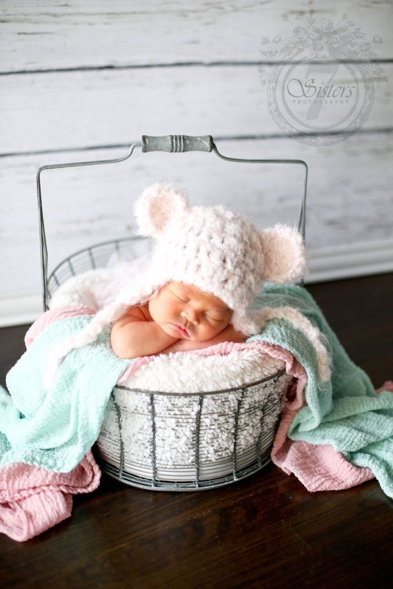 Soft and chunky pink bear earflap hat bear by CrochetnCoffeeBeans, $15.00