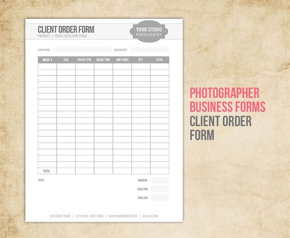 Photography Business Forms  Client Order Form For Photographers