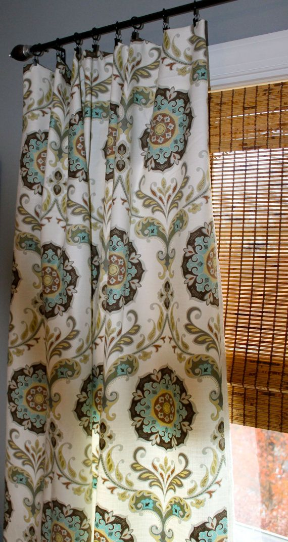 Turquoise yellow grey brown and white medallion curtain - White and turquoise curtains ...