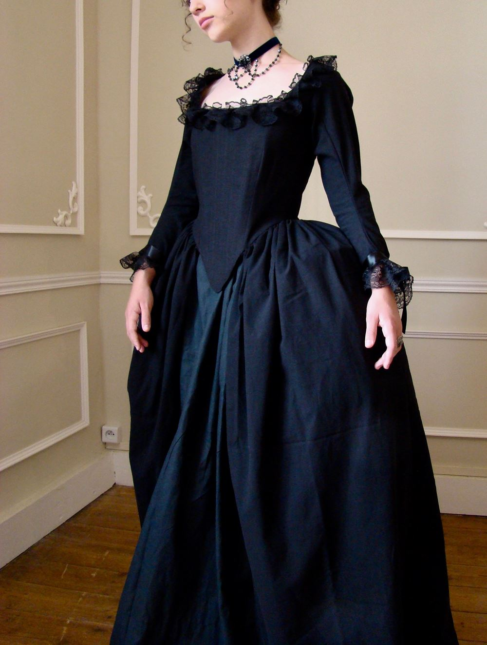 Rococo Black Dress With Long Sleeves Rococo Dress Black Victorian Dress Roccoco Dresses [ 1322 x 1000 Pixel ]