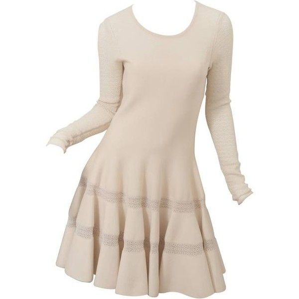 Preowned Alaia Cream Knit Dress (6.630 BRL) ❤ liked on Polyvore featuring dresses, white, white circle skirt, long sleeve knit dress, knit skater skirt, white dress and cream skater skirt