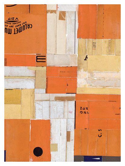 """Lisa Hochstein    Chain of events •  9"""" x 12""""  salvaged paper"""