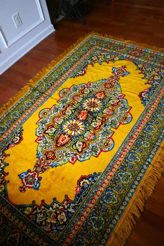 Vintage rug golden yellow eclectic bohemian home decor for Decor international handwoven rugs