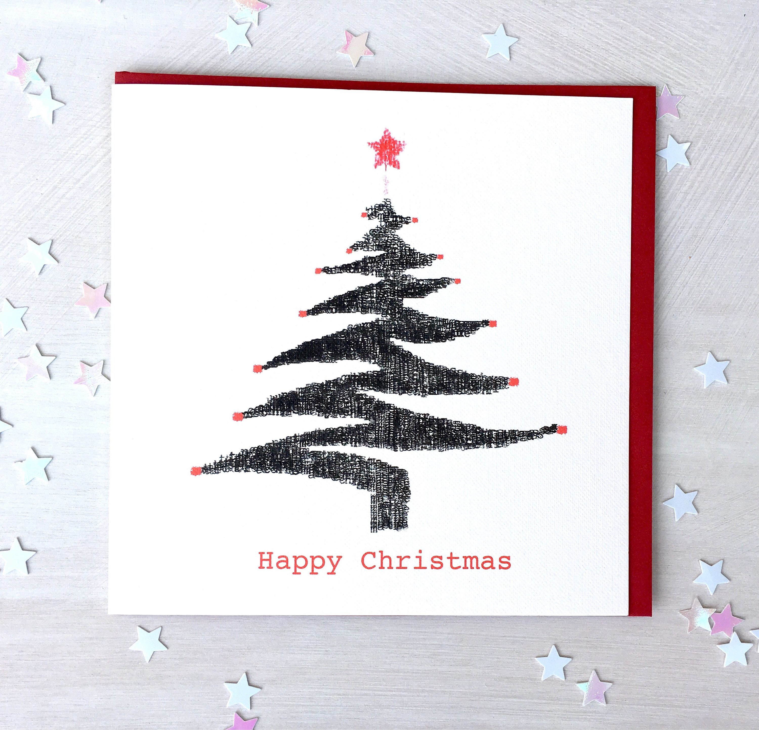 Christmas Card Pack, Christmas Tree, Typewriter Art, Blank Card, Xmas Card,