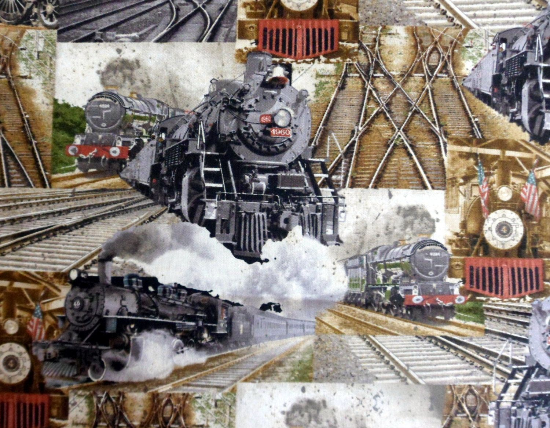 "Locomotive Steam Engine Train on Cream Cotton Fabric All Aboard 24/""X44/"" Panel"