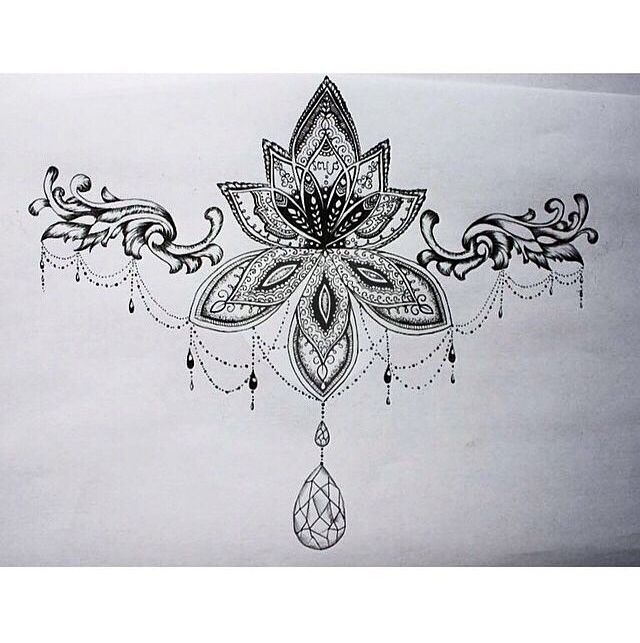 Jeweled Filigree Sketch Lotus Sternum Tattoo With Images Sternum Tattoo Design