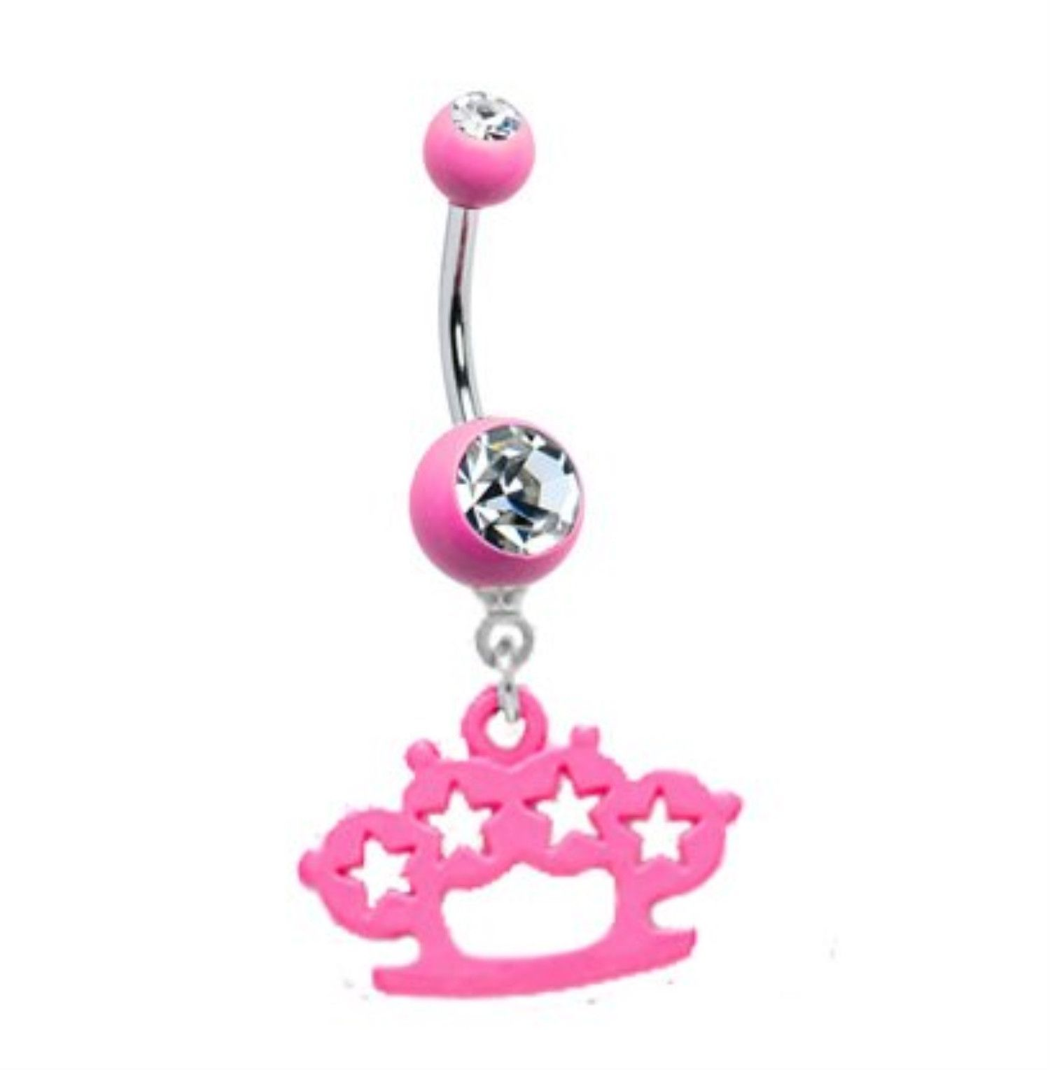 Rose gold belly piercing  Belly Ring Brass Knuckle Belly Button Ring Gem Crystal Neon Pink