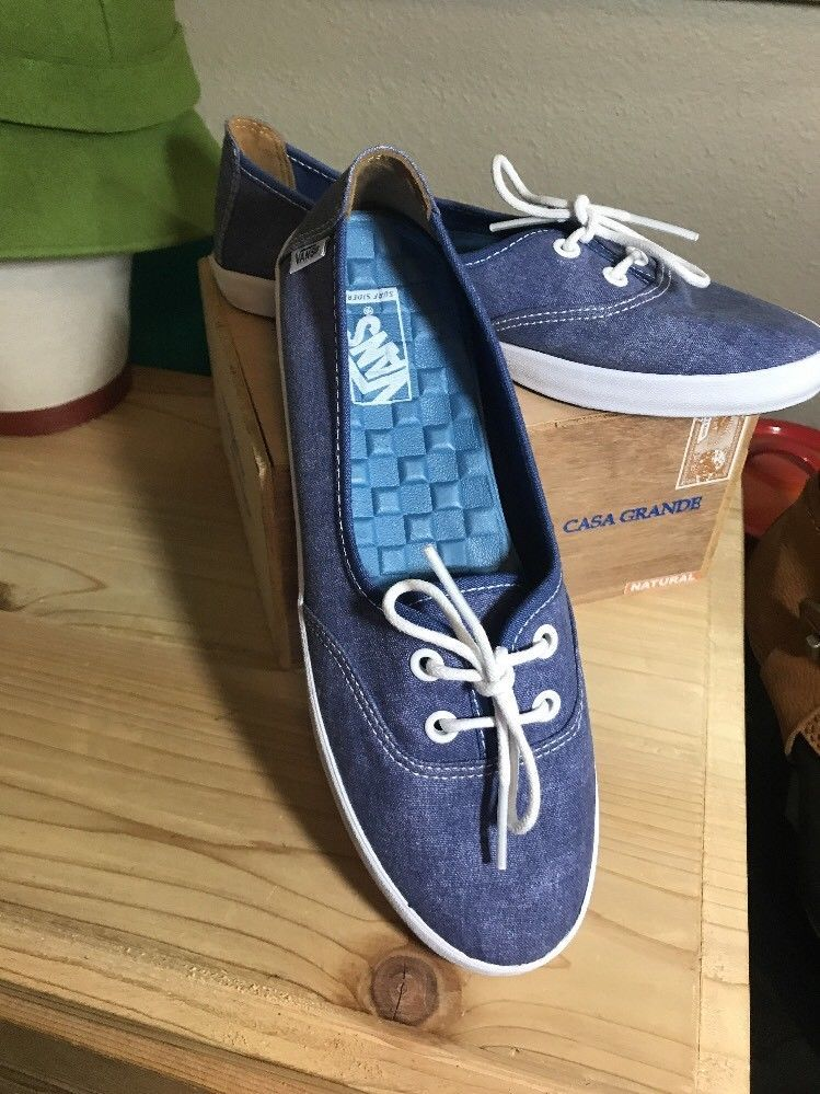 44dcb1f089 Vans Of The Wall Surf Siders Denim Lace Up Ultra Cush Removable Insoles WM  7