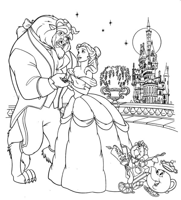 Beast in a Beautiful Night With Belle Coloring Page | Bela and the ...