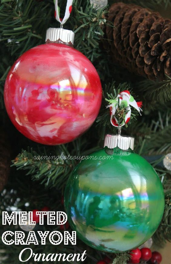Melted Crayon Ornaments. Using microwave (2 mins, then 45 second intervals)  and 3 complimentary colors of crayons (1/4