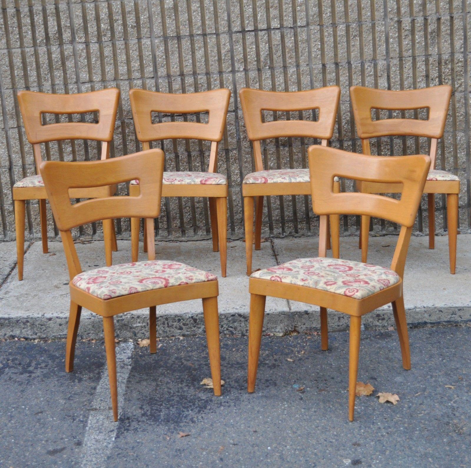 heywood wakefield dogbone chairs beach chair tommy bahama 6 vintage m154 dining mid century vtg champagne modern ebay