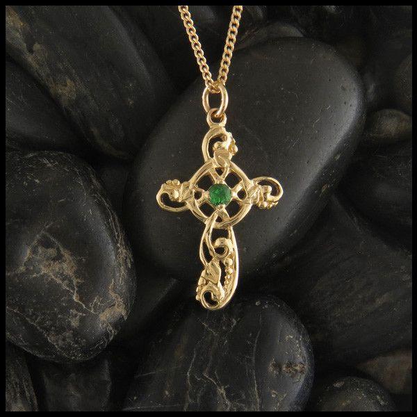 Feminine Celtic Ivy Cross shown with a Tsavorite Garnet.