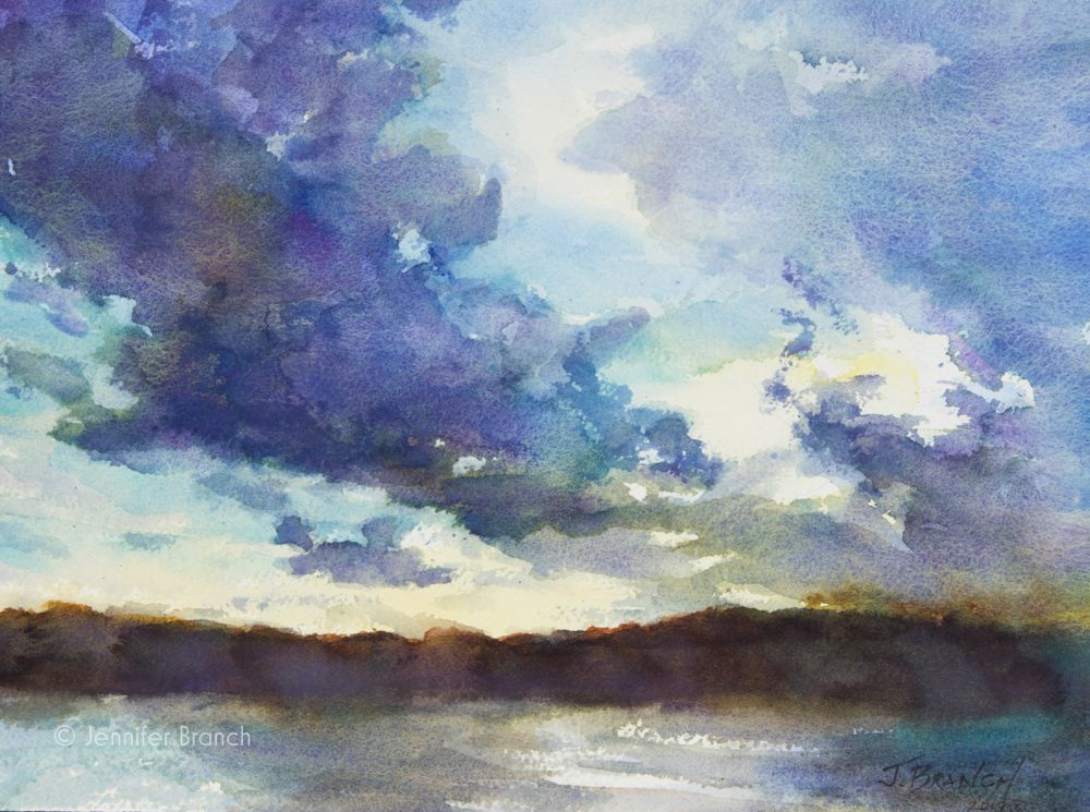Sunset Clouds Summer Evening Watercolor Art Lessons Watercolor