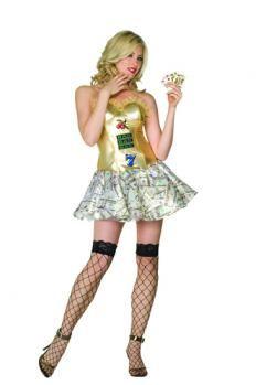 Volwassen Casino Meisje draagt Golden jurk- #OnlineCasino