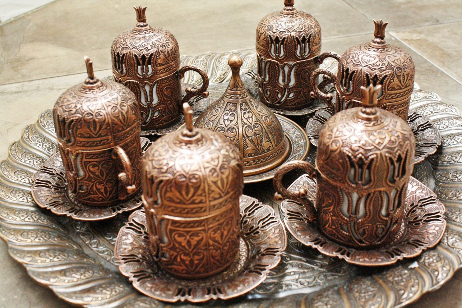 Turkish Coffee Espresso Set, serving plate tray with 6
