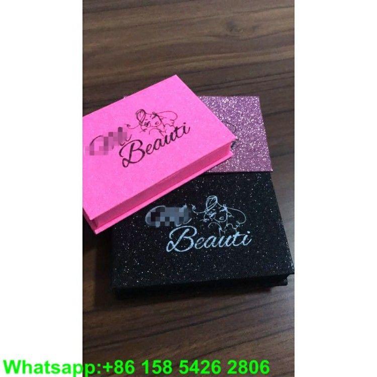 c94e1e940b1 Pink Black glitter Custom eyelash box packaging With white foil Private  Label logo for mink LASHES