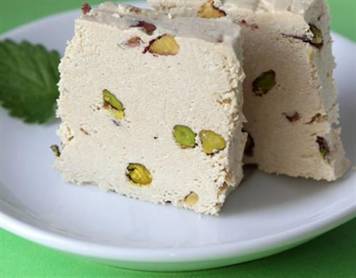 Halva – sesame paste sweet, usually made in a slab and studded with fruit and nuts.