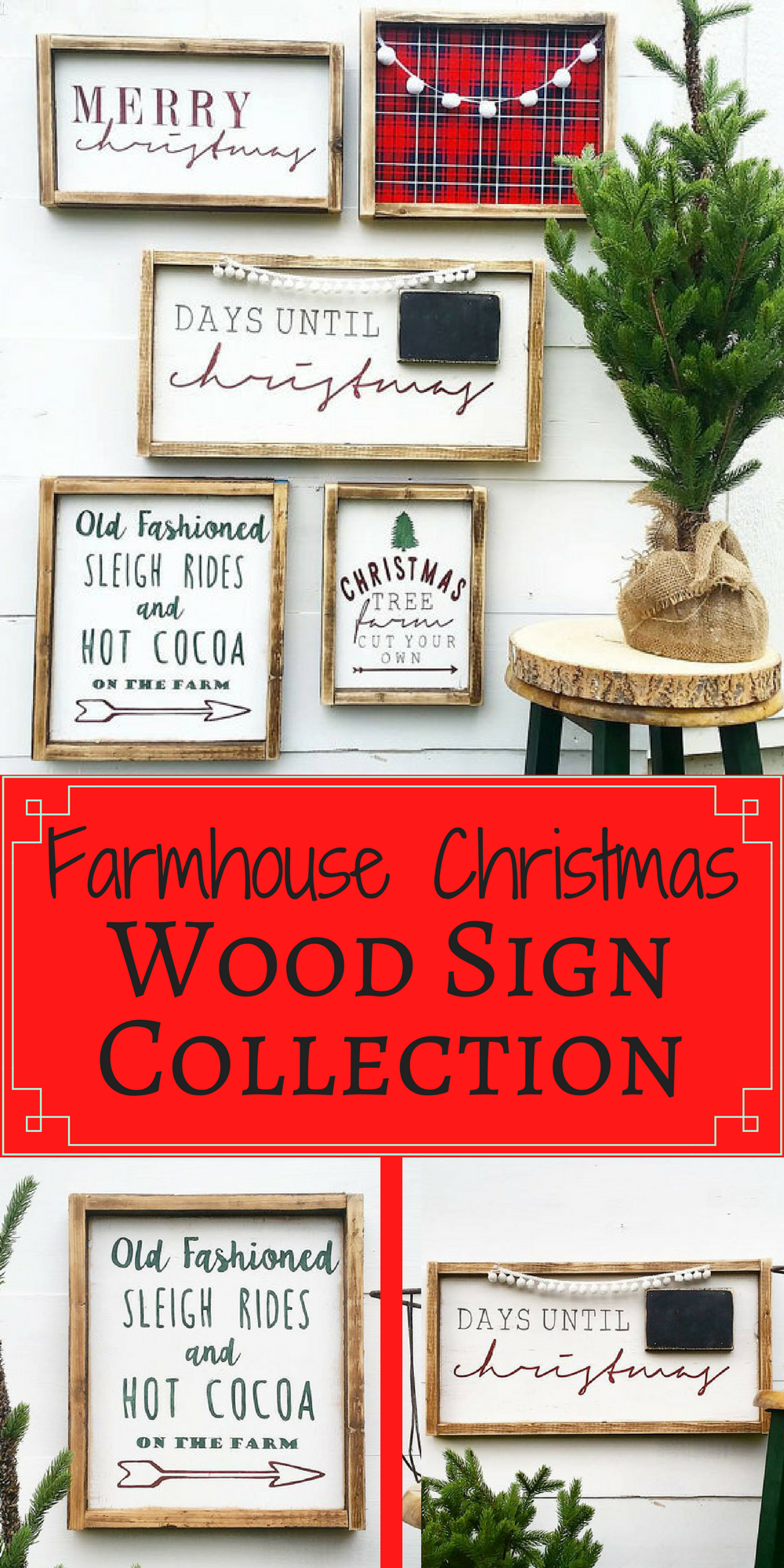 Farmhouse Christmas Wood Sign Collection Check Out These Adorable Rustic Farmhouse Framed Wo Rustic Holiday Decor Christmas Signs Wood Christmas Wooden Signs