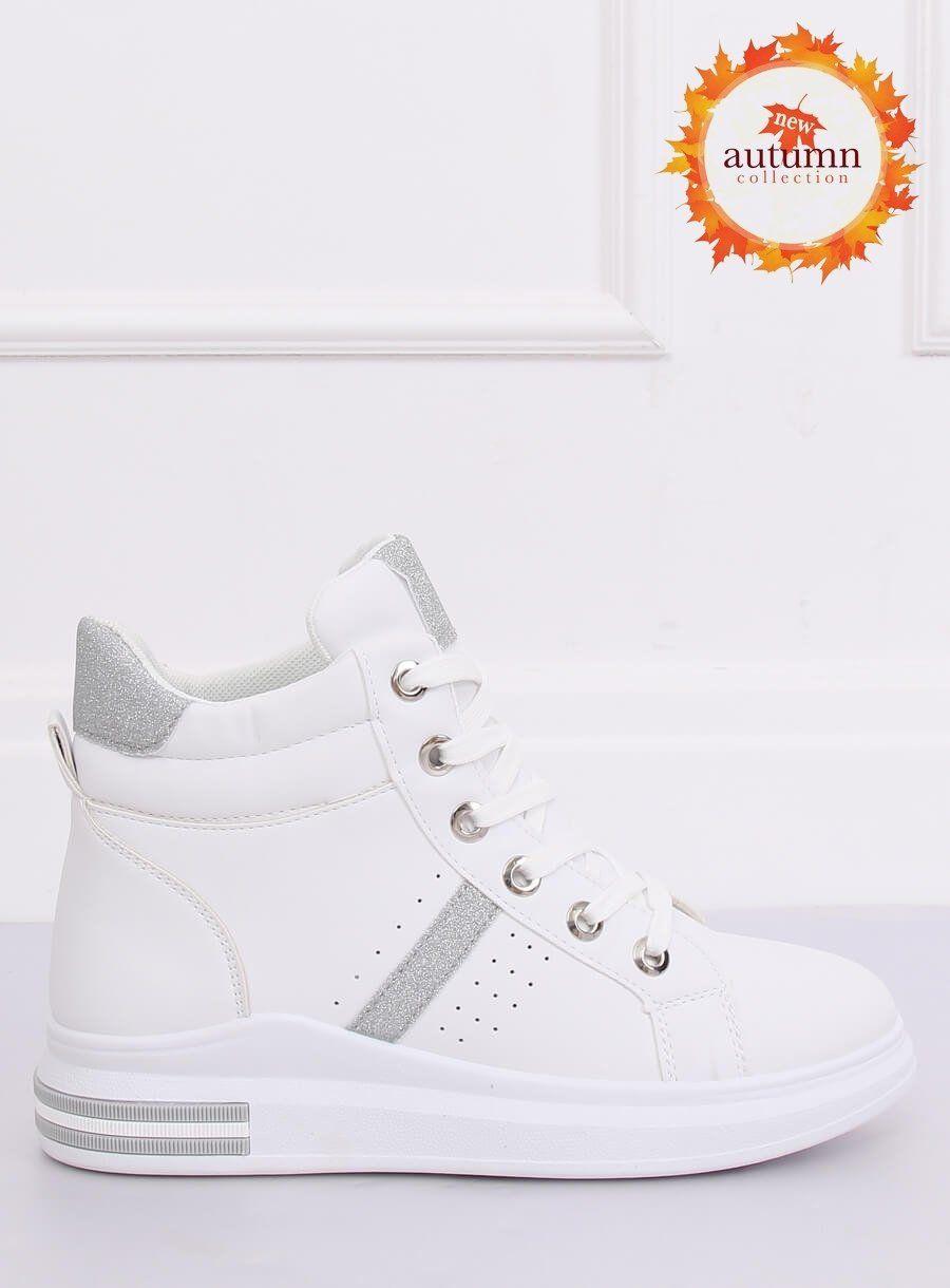 Trampki Za Kostke Biale Cb 19078 White Silver Sklep Kupbuty Com High Top Sneakers Shoes Top Sneakers