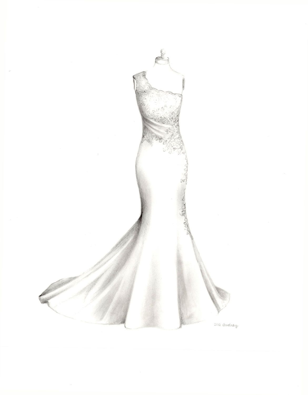 White dress drawing - Custom Wedding Dress Drawing Wedding Illustration Memory Sketch Wedding Art