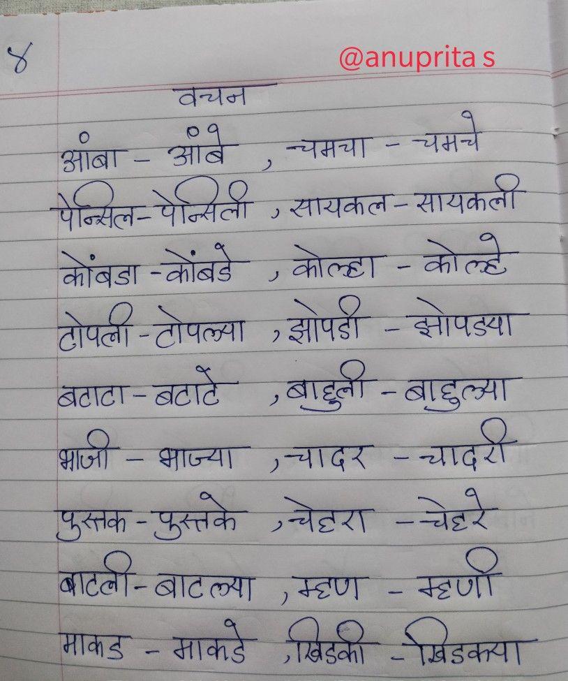 Marathi Grammar Vachan Badla Singular Plural By Anuprita Shinde Singular And Plural Plurals Study Materials [ 975 x 814 Pixel ]