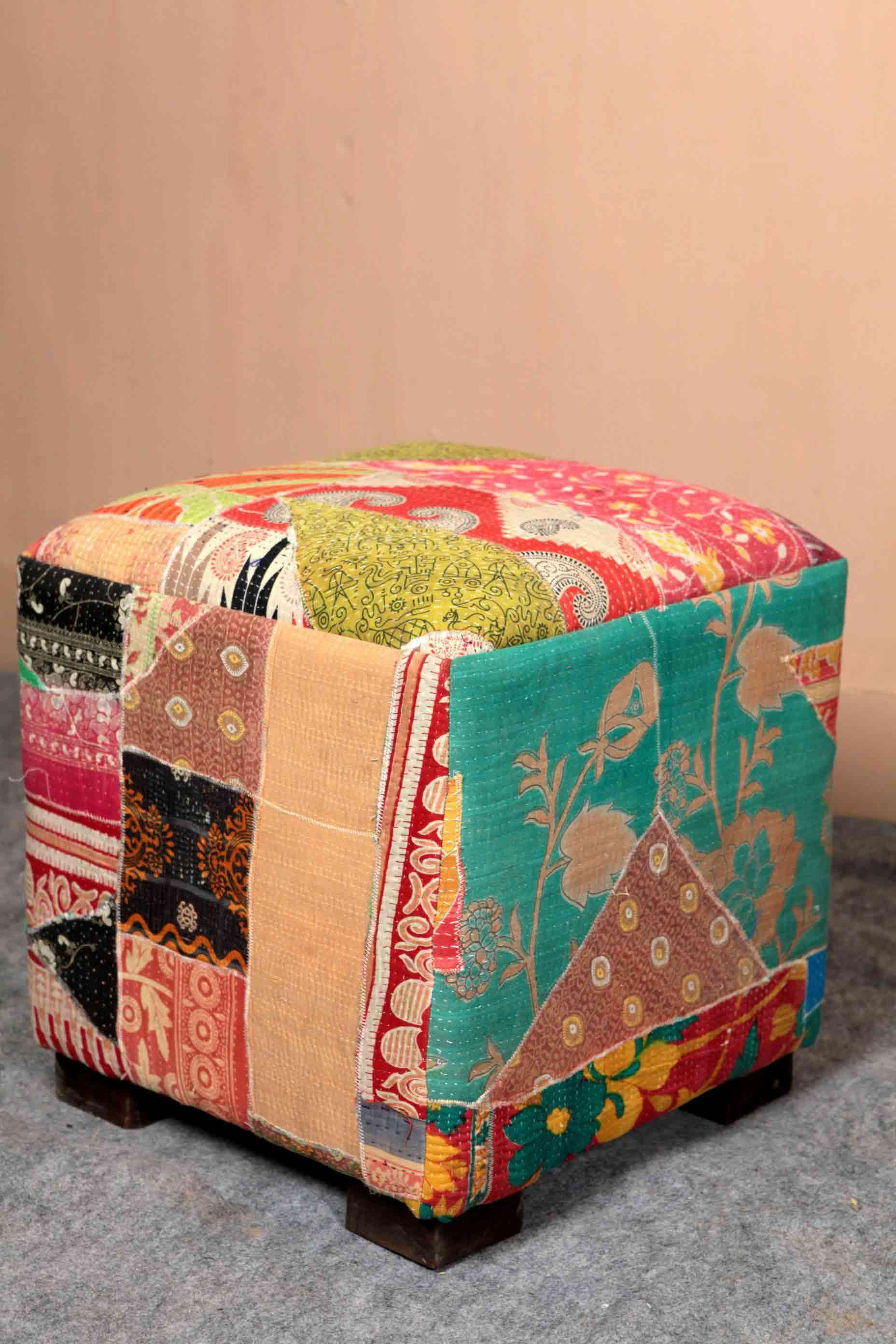 RC101 Square Puff  This beautiful stool is created by some very creative artist out of remains of old wood and cloth. This is so colourful and well designed that it will add elegance to the sit out where this is kept. http://bit.ly/1dz0qUH