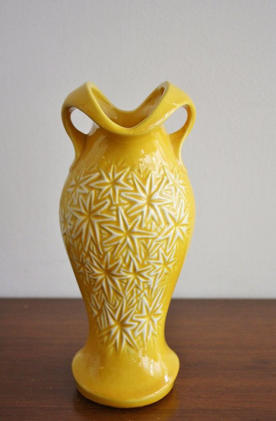 1968 Yellow Ceramic Vase Mcp For Floraline Pottery Mccoy Love
