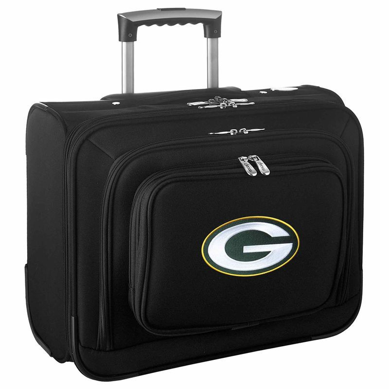 """Green Bay Packers 14"""" 2-Wheeled Laptop Overnighter Travel Case - Black"""