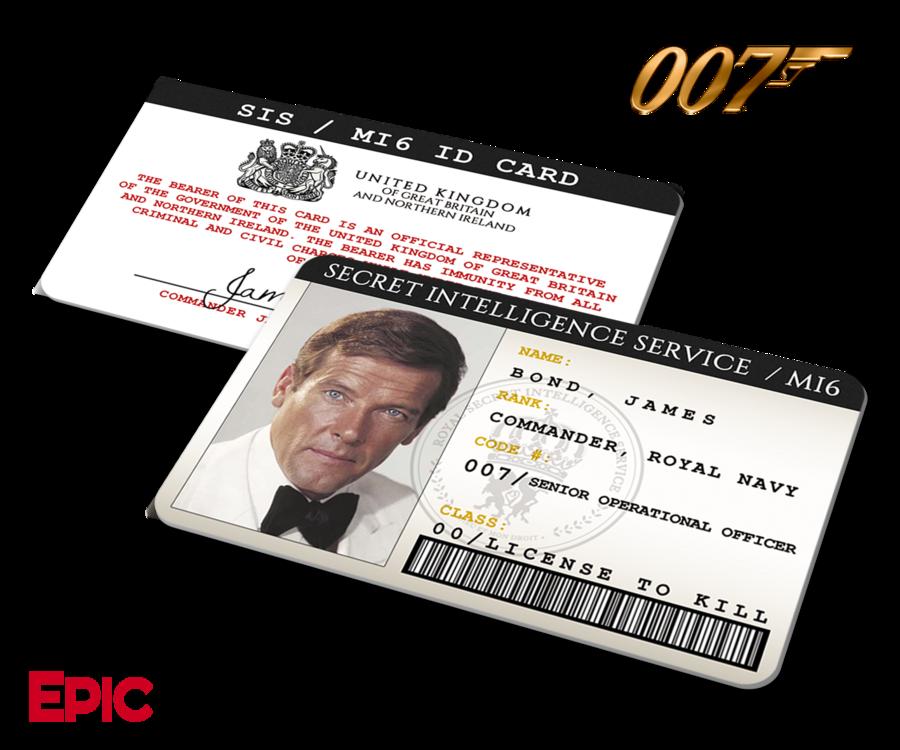 James Bond 007 Inspired Roger Moore Secret Intelligence Service Id James Bond James Bond Movies Intelligence Service