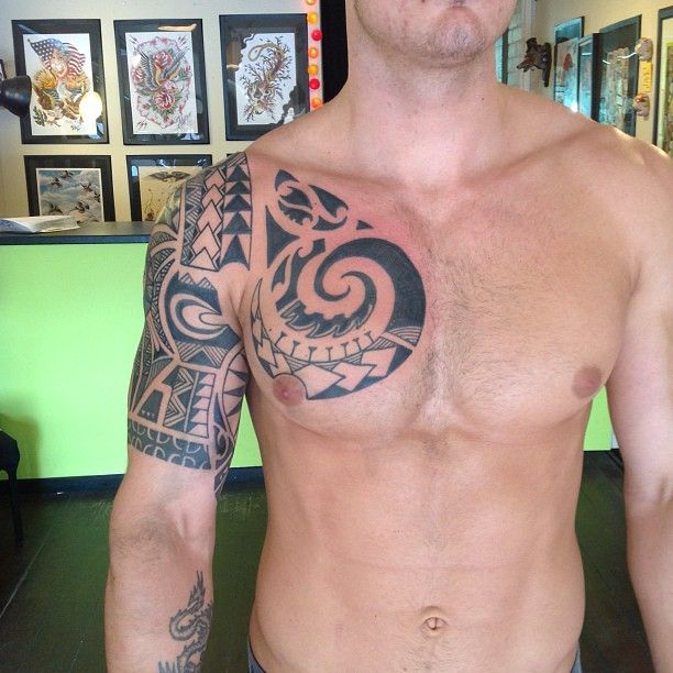 Awesome Polynesian Tribal Chest Tattoo for Men | Cool Tattoo Designs