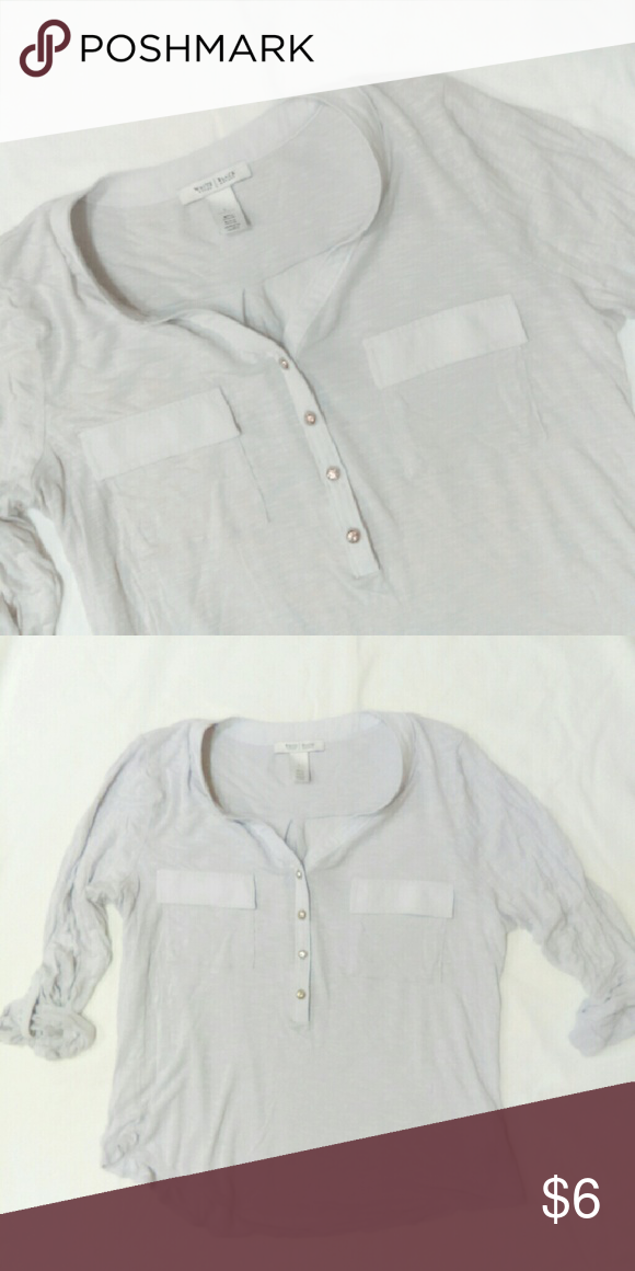 """WHBM Blouse No stains or rips....size Large I put it in the dryer by mistake and it shrunk a tiny bit, reflected in price  100% rayon  23-24"""" length White House Black Market Tops Blouses"""