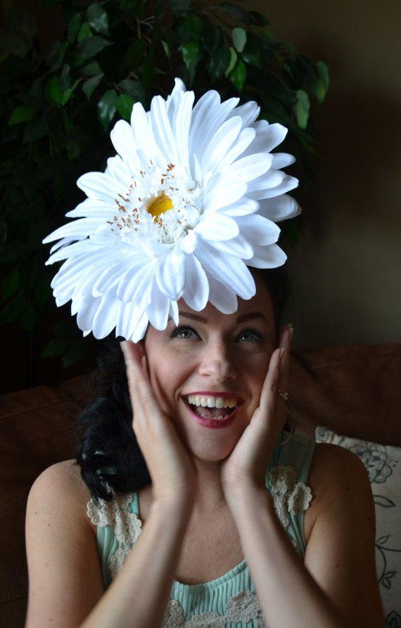 f6490f8f7b37b Definitely Daisy Giant Flower DERBY hat Fascinator headpiece costume ...