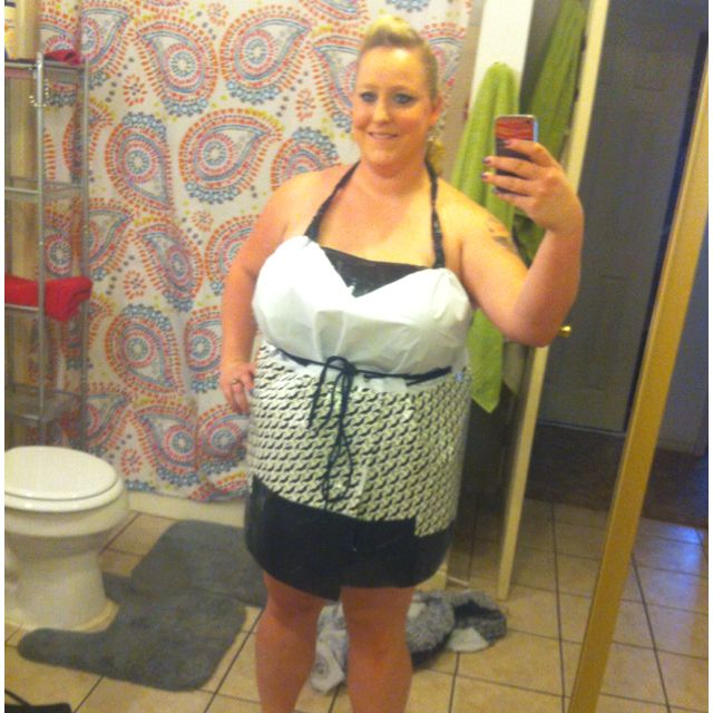 Shower curtain and duct tape dress for ABC party :) own ...