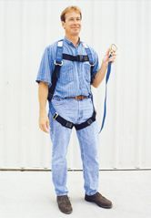 Safety Harness to keep from being blown away.