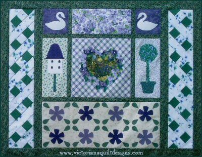 'Violets  Ivy' quilt pattern. I love the lattice borders  the violets panel of this design!! http://www.victorianaquiltdesigns.com/VictorianaQuilters/PatternPage/VioletsIvy/VioletsIvy.htm #quilting #violets #ivy