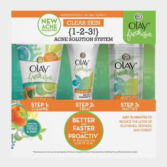 Olay Fresh Effects Clear Skin 1 2 3 Acne Solution System 1 Kit Acne Solutions Skin Care Kit Olay Fresh Effects