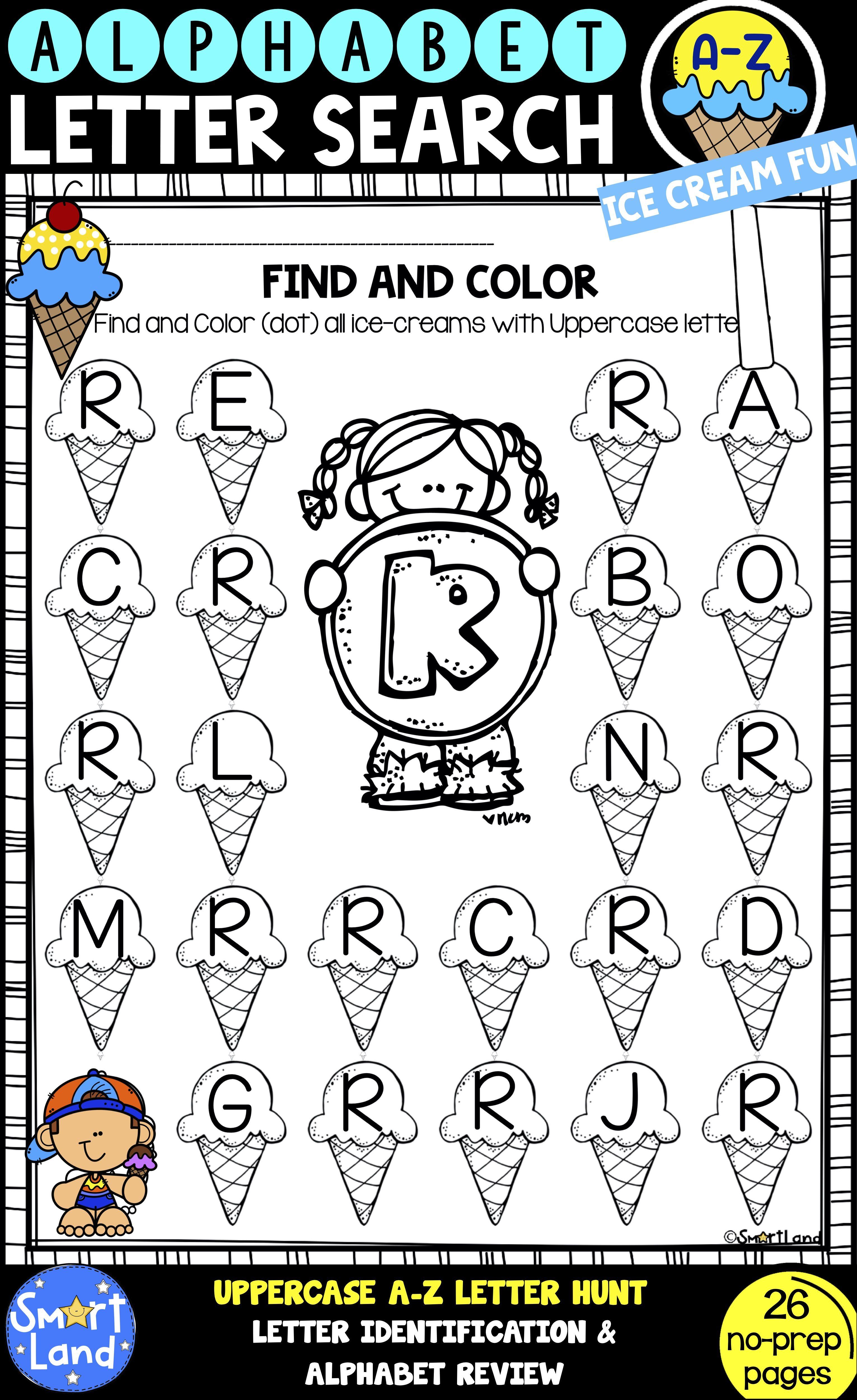 Alphabet Practice Letter Search Ice Cream Fun In