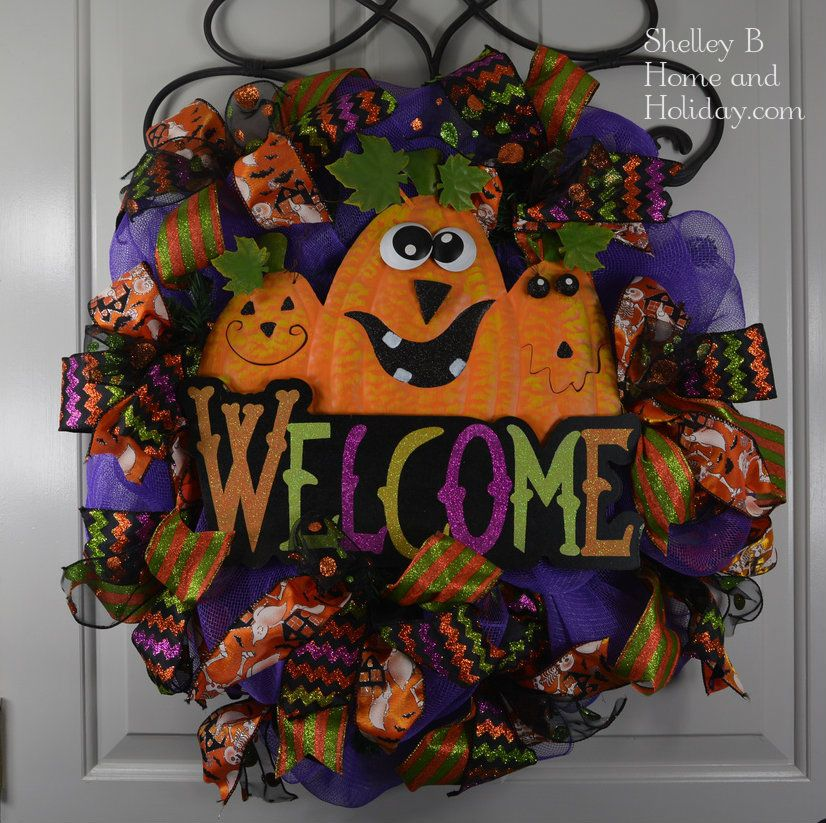 Halloween Wreath By Shelley B Home And Holiday A SBO Design Purple Deco Mesh