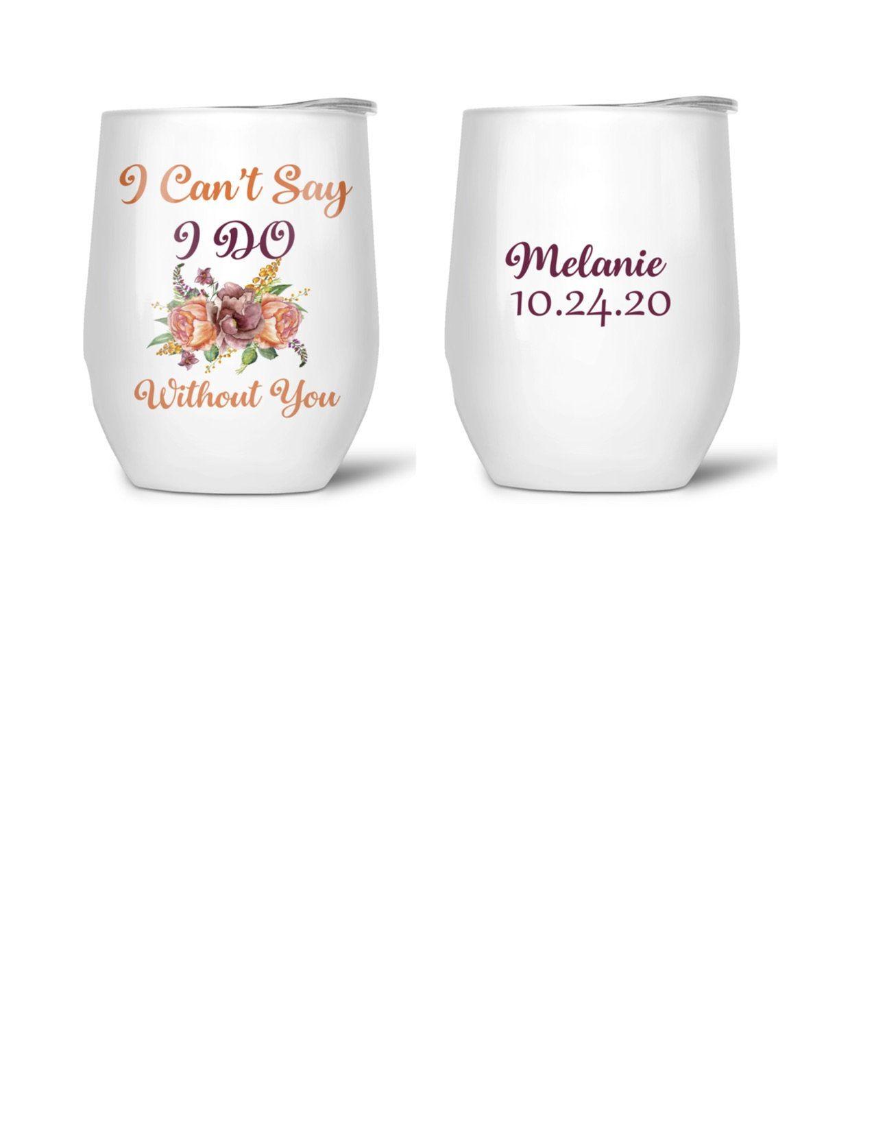 Bridesmaid proposal bridesmaid stemless wine glasses