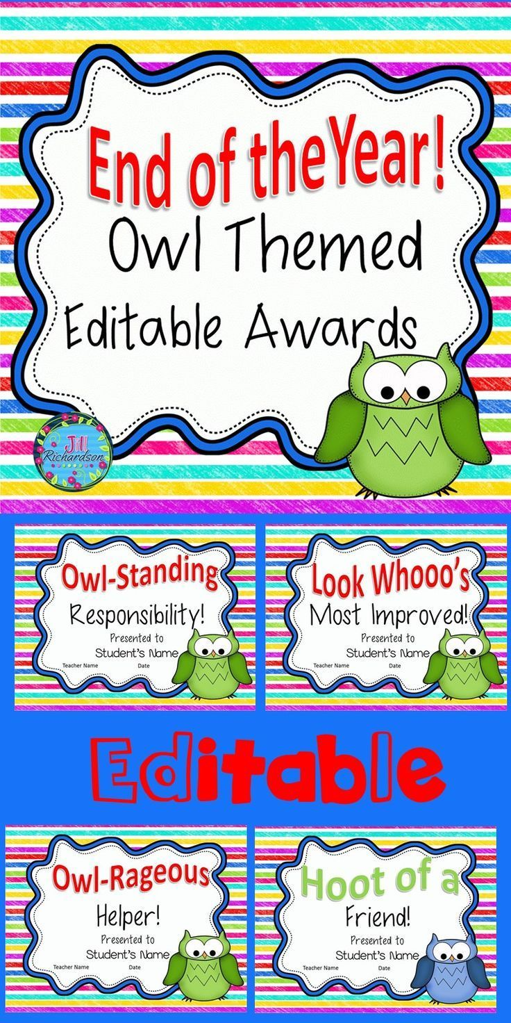end of year awards editable owl themed best of the end of the