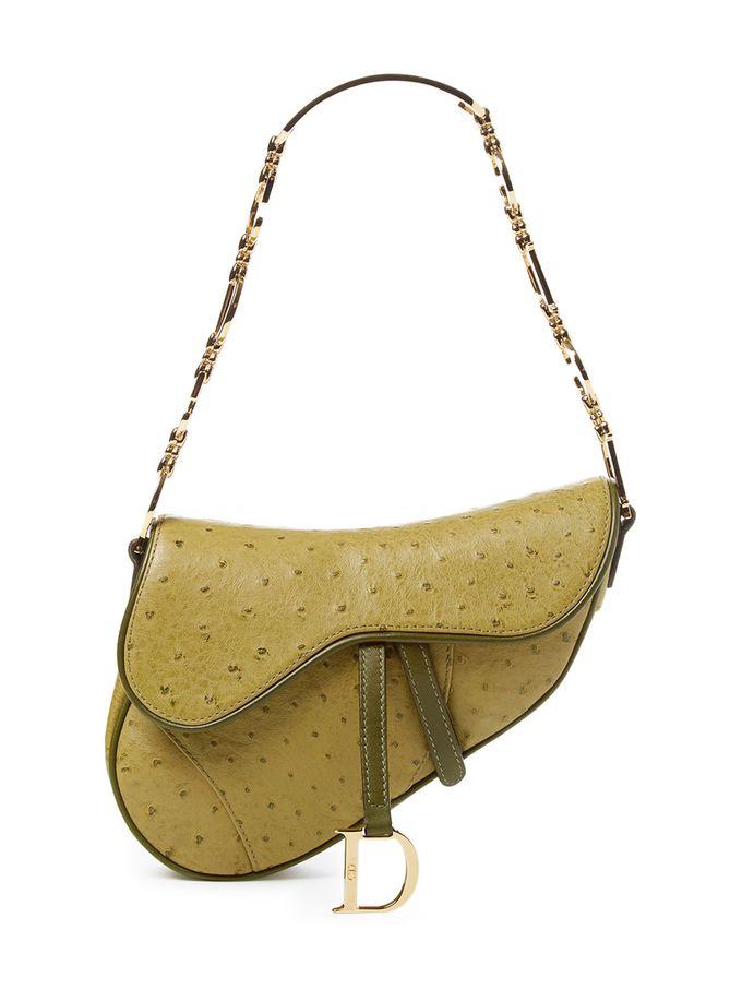 7209daa7346e Green Ostrich Mini Saddle Bag from Standout Vintage Handbags on Gilt ...