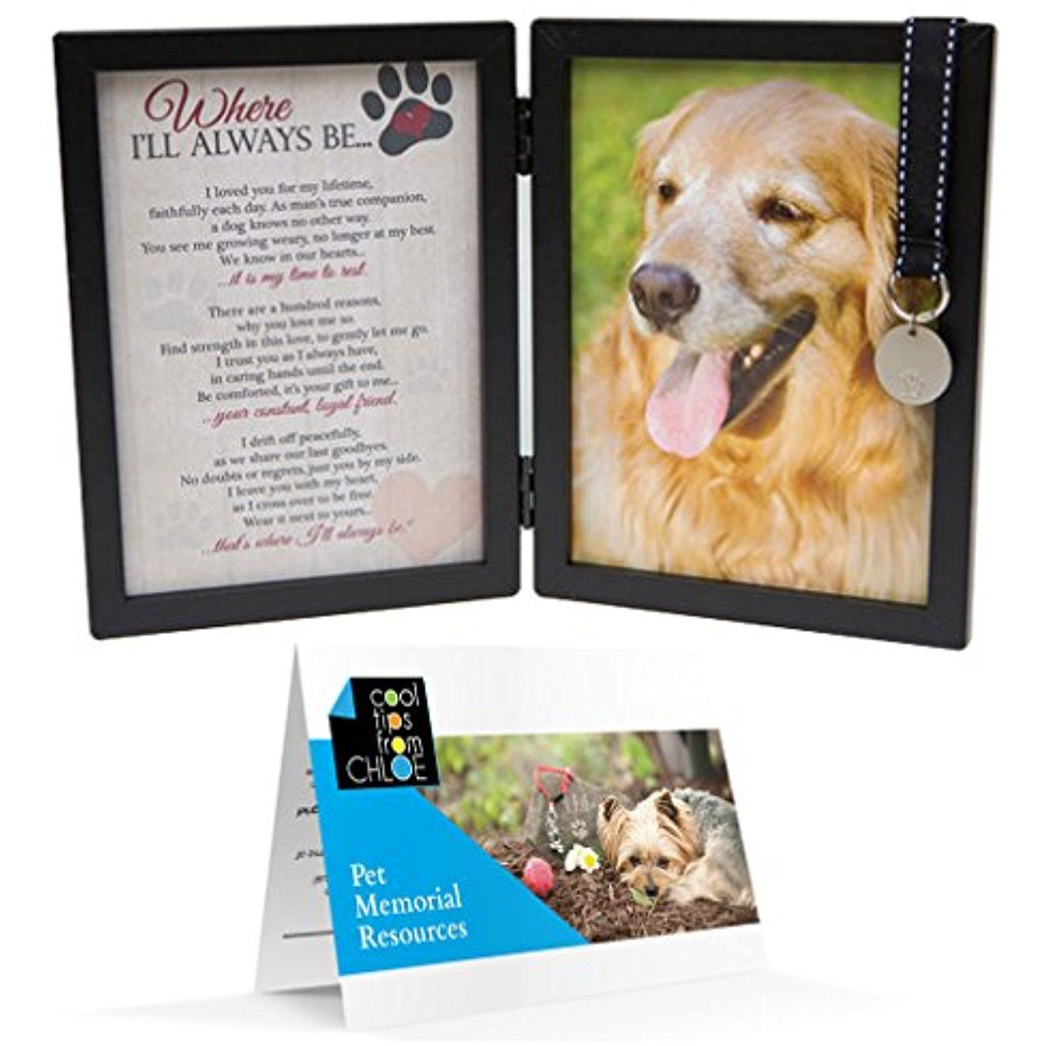 Where Ill Always Be Dog Memorial Picture Frame with Pet Tag and Pet ...