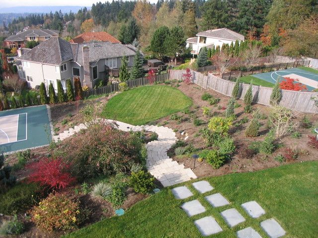 Garden Landscaping Ideas For Downward Sloping Backyard With Walkways