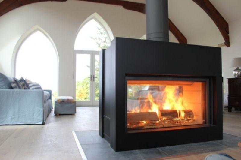 Jesus This Might Actually Be Big Enough For Our House Kernow Fires Stuv 21 Big F Freestanding Fireplace Wood Burning Stove Double Sided Fireplace