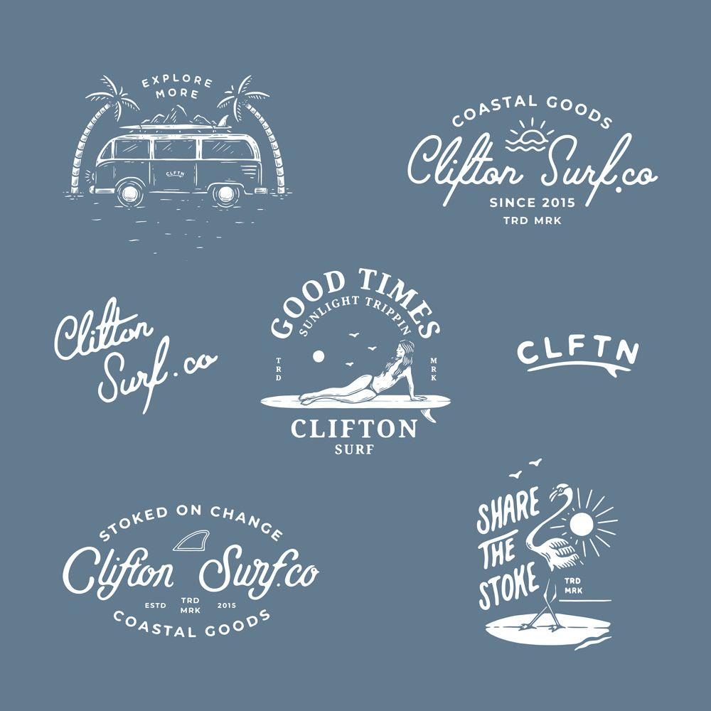 Branding Project For The Surf Brand Clftn Based In The Southern Surf Culture Of Clifton Australia Surf Logo Surf Shop Logos Beach Logo