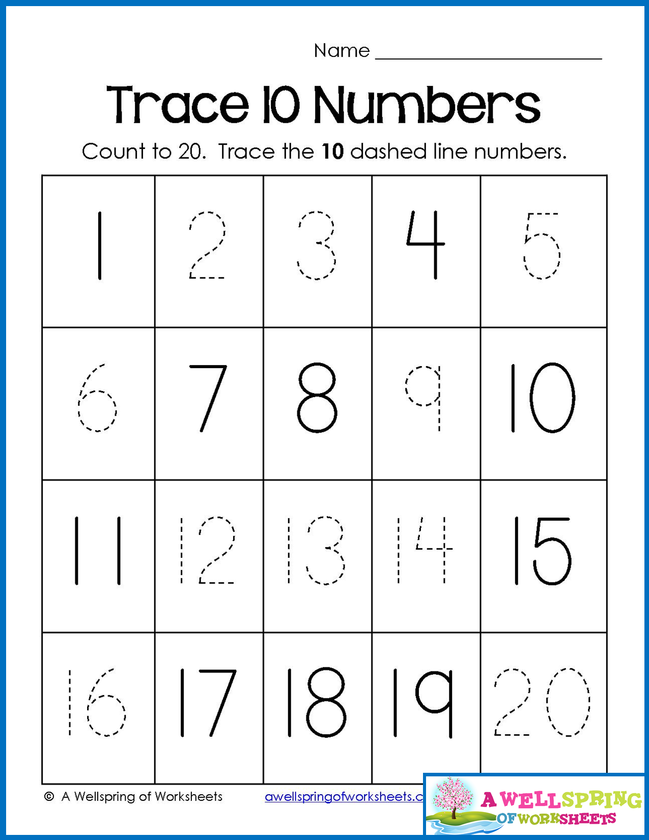 Trace Numbers 1 20 Write And Fill In The Numbers Too