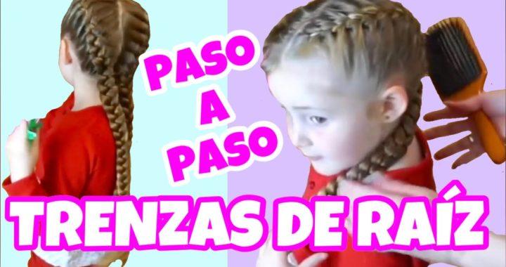 PASO A PASO Dos TRENZAS DE RAIZ a los lados PEINADO para niñas CABELLO MUY LARG