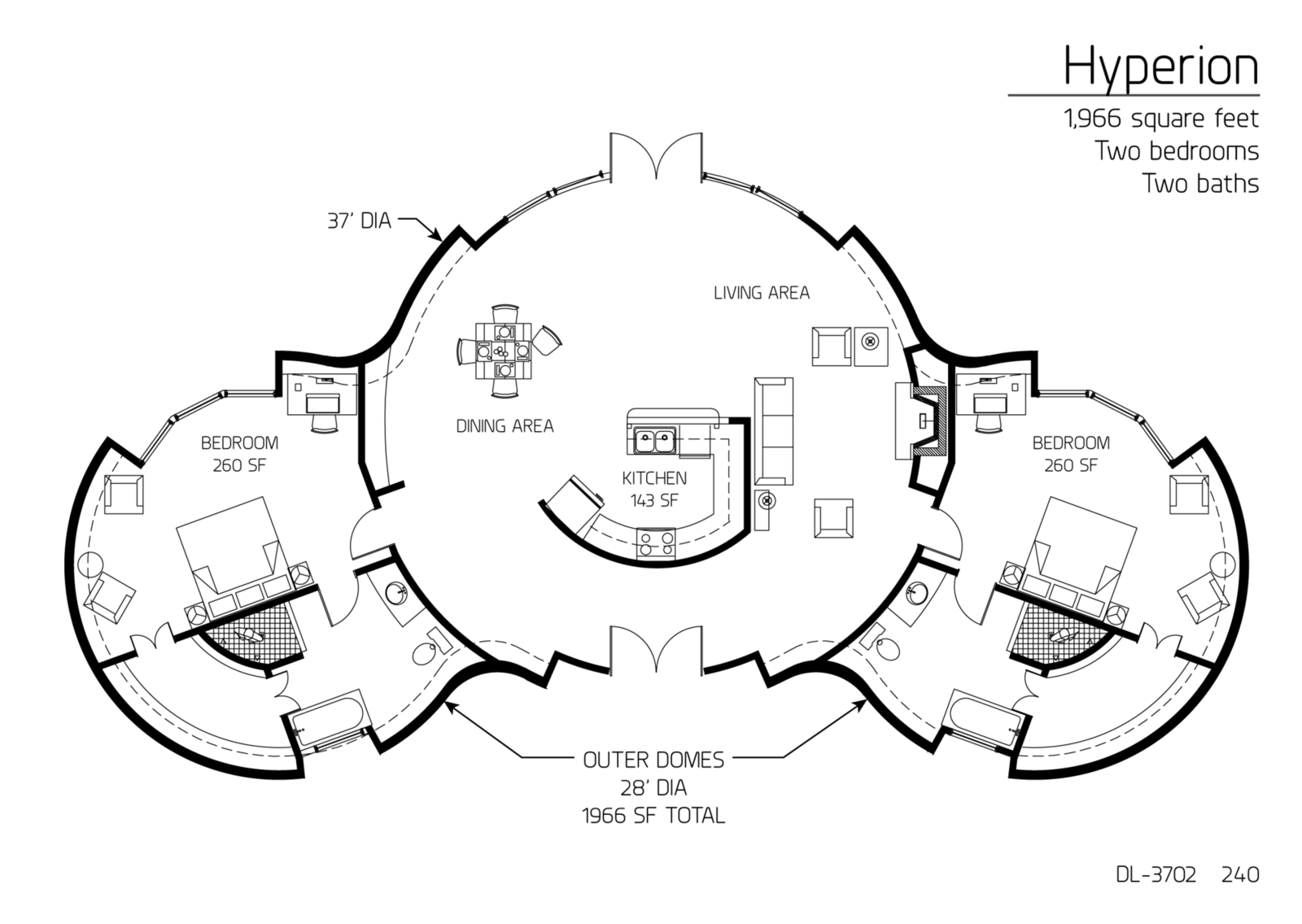 Bedroom domes off the main dome | Dome house, Monolithic ...